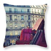 Red Truck In Paris Street Throw Pillow