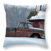 Red Truck In The Snow Throw Pillow