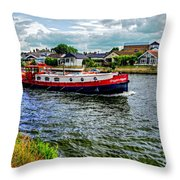 Red Tug Boat Throw Pillow