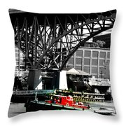 Red Tug On Cuyahoga River Throw Pillow