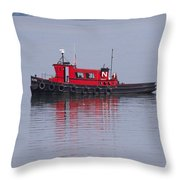 Red Tug On Lake Superior Throw Pillow