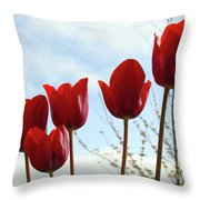 Red Tulip Flowers Spring Artwork Baslee Troutman Throw Pillow