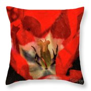 Red Tulip Texture Throw Pillow