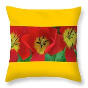 Red Tulip Trio Throw Pillow