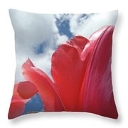 Red Tulips Flowers Art Prints Spring Tulip Garden White Clouds Baslee Troutman Throw Pillow