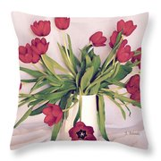 Red Tulips In Full Bloom Throw Pillow