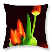 Red Tulips In Vase # 4. Throw Pillow