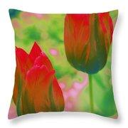 Red Tulips Pop Art Throw Pillow