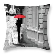 Red Umbrella In London Throw Pillow