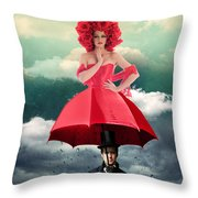 Red Umbrella Throw Pillow