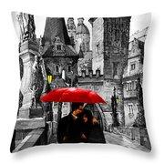 Red Umbrella Throw Pillow by Yuriy  Shevchuk
