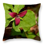 Red Upright Trillium Throw Pillow