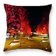 Red Urban Trees Throw Pillow