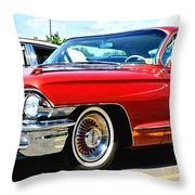Red Vintage Cadillac Throw Pillow