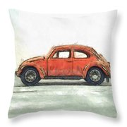 Red Vw Beetle Bug Pencil Throw Pillow