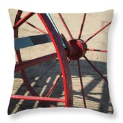 Red Waggon Wheel Throw Pillow