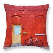 Red Wall White Bike Throw Pillow