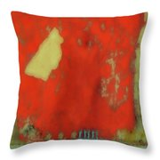 Red Wall With Boot  Throw Pillow