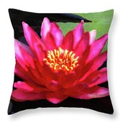 Red Water Lily - Palette Knife Throw Pillow
