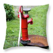 Red Water Pump Throw Pillow