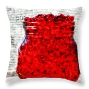 Red Watercolor Beads Throw Pillow