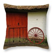 Red Wheel And Barn In Sweden Throw Pillow