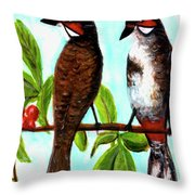 Red-whiskered Bulbul Bird, #246 Throw Pillow