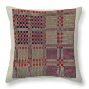 Red, White & Blue Coverlet Throw Pillow