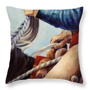 Red White And Blue American Cowboy Art Throw Pillow