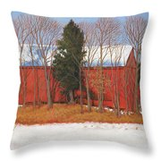 Red White And Blue Barn Throw Pillow