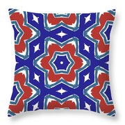 Red White And Blue Star Flowers 1- Pattern Art By Linda Woods Throw Pillow