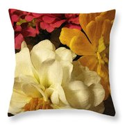 Red White And Yellow Zinnias Throw Pillow