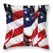 Red White Blue - American Stars And Stripes Throw Pillow