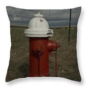 Red  White Hydrant Throw Pillow