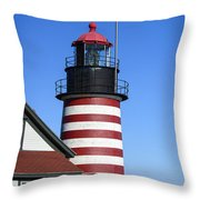 Red White Striped Lighthouse Throw Pillow