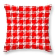 Red White Tartan Throw Pillow