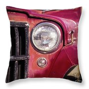 Red Willys Jeep Truck Throw Pillow