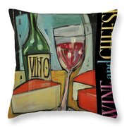 Red Wine And Cheese Poster Throw Pillow