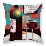 Red Wine For Two Throw Pillow
