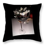 Red Wine With White Mums Throw Pillow