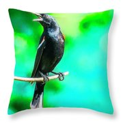 Red Wing Blackbird Perching And Singing Throw Pillow