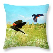 Red-winged Blackbirds Throw Pillow