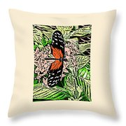 Red Winged Butterfly Throw Pillow