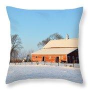 Red Winter Barn Throw Pillow