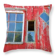 Red Wood And Windows Throw Pillow