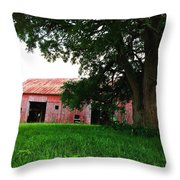 Red Wood Barn Throw Pillow