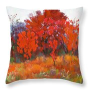 Red Woods Painting Throw Pillow