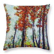 Red Woods Throw Pillow