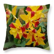 Red Yellow Orchids Throw Pillow