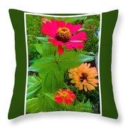 Red Yellow Zinnia Flowers Throw Pillow